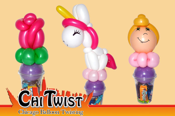 Rose Unicorn and Princess Candy Cup Balloons